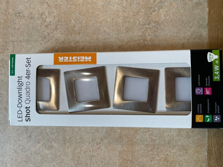 Meister LED-Downlight Shot Quadro 12V 4er Set eckiges Design