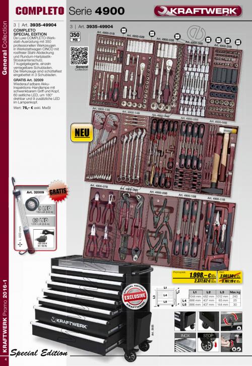 Werkstattwagen COMPLETTO mit 350tlg. Werkzeugsatz 3935-49904